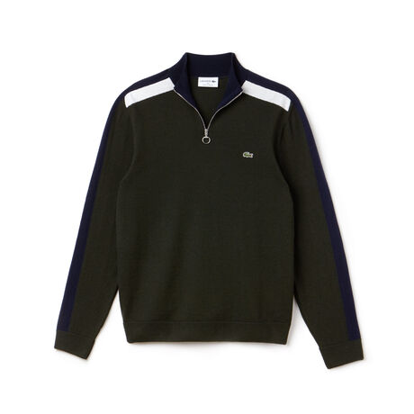 Men's Made In France Zip Neck Colorblock Bands Jersey Sweater