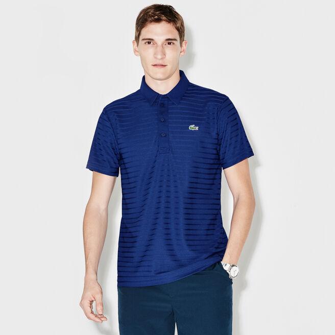 Men's Lacoste SPORT Golf Striped Tech Jacquard Jersey Polo